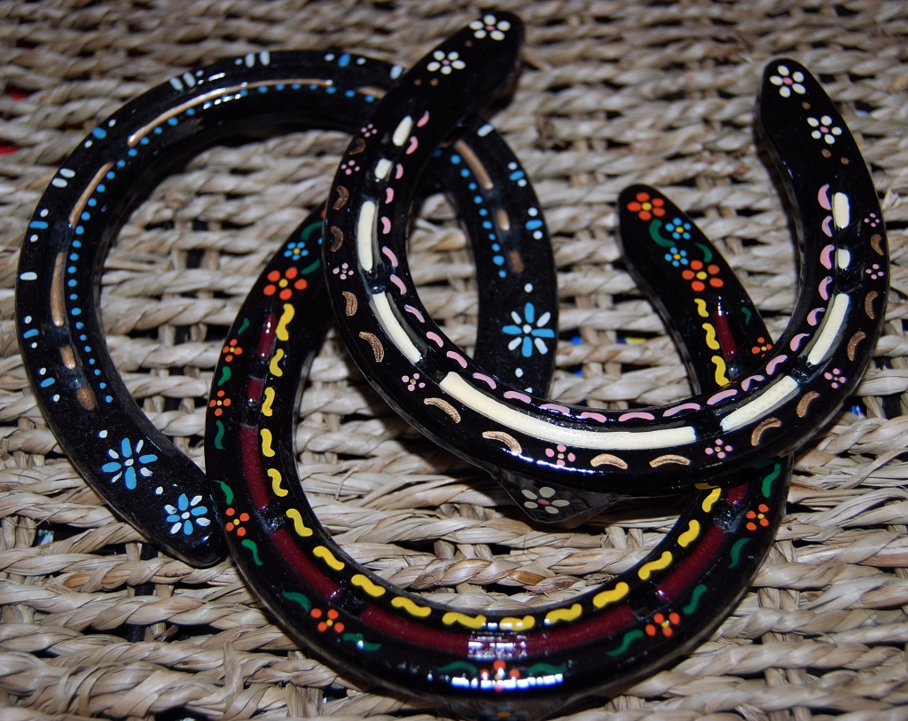 Heidi's handpainted horseshoes